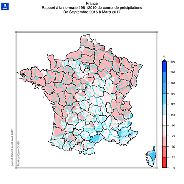 Carte des précipitations en France