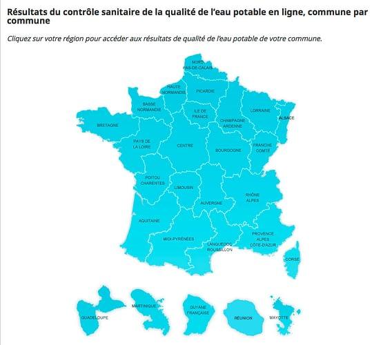 Carte de France, résultats du contrôle sanitaire de la qualité de l'eau potable en ligne, commune par commune